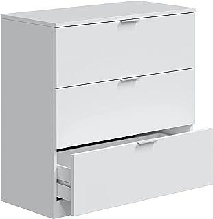Comoda 3 Cajones, Dormitorio, Modelo LowCost, Acabado en Color Blanco Artik, Medidas: 77 cm (Ancho) x 80 cm (Alto) x 38 cm...
