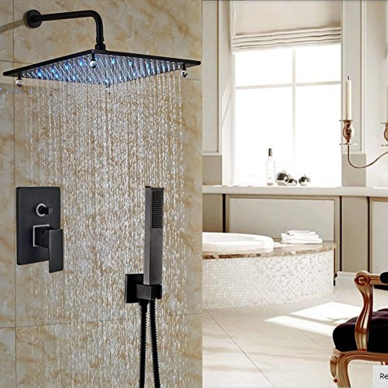 Galvanik Retro Wasserhahn Luxus 16  LED-Licht Dusche Badewanne Dusche Düsen Wandhalterung l eingerieben Bronze Mischbatterie, Schwarz