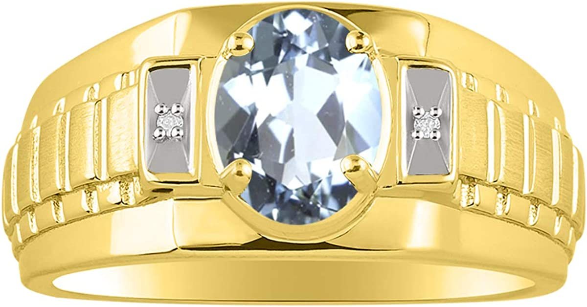 RYLOS Mens Choice Rings Yellow Gold Classic Designe New popularity Silver Plated