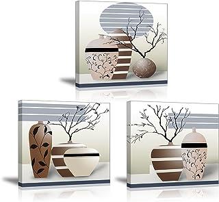 PIY 3X Cuadro Sobre Lienzo Imagen de Ramas secas Elegantes en Botellas de jarrón Canvas Wall Art de la Lona Arte de La Pared para Colgar Cuadros Sobre el Lienzo Dormitorio Sala Comedor Cocina 30x30cm