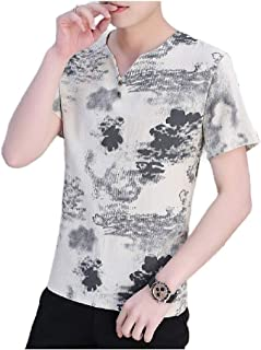 Doufine Men's Chinese Style Summer Tunic Shirt Printed Short-Sleeve Shirt
