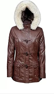 Smart Range Ladies 1165 Brown Hood Slim Fit Soft Casual Style Fashion Leather Jacket