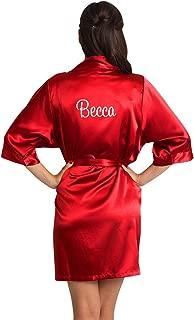 Zynotti Women's Personalized Embroidered Name or Custom Title Satin Robe - Bridal & Bridesmaid Wedding Kimono Robe