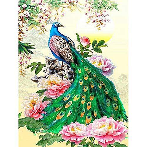KYYBAX DIY 5D Diamante Pintura,Bricolaje Diamond Painting Pavo real de hermosas flores...