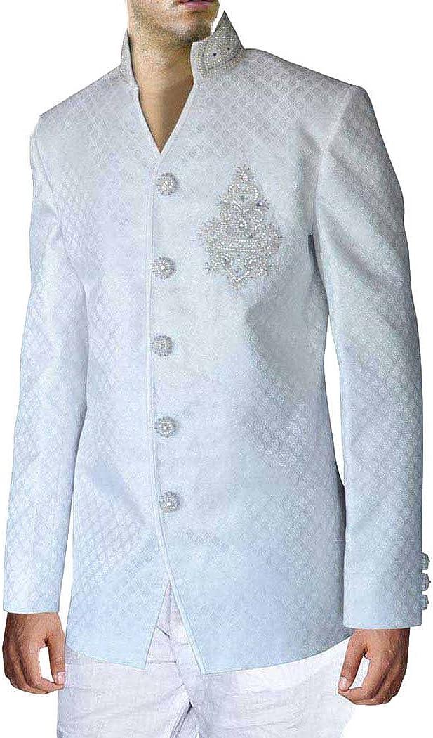 INMONARCH Mens White Brocade 2 Pc Jodhpuri Suit JO0188