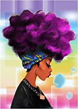 5D Full Drill Diamond Painting Kit, DIY Diamond Rhinestone Painting Kits for Adults and Children Embroidery Arts Craft Home Decor 12 x 16 inch (African American Woman Purple Hair)