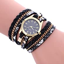Women's Wristwatch,Jushye Ladies Girls Watches Bohemian Style Fashion Weave Leather Bracelet Lady Womans Wrist Watch (A)