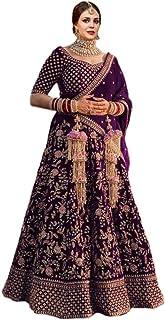 LBZ Women's Velvet Semi-stitched Lehenga Choli With Dupatta (Maroon_Free Size)