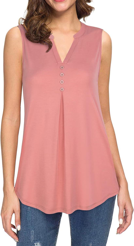 Unixseque Women's Sleeveless V-Neck Tunic Tops Casual Summer Tank Blouse Shirts