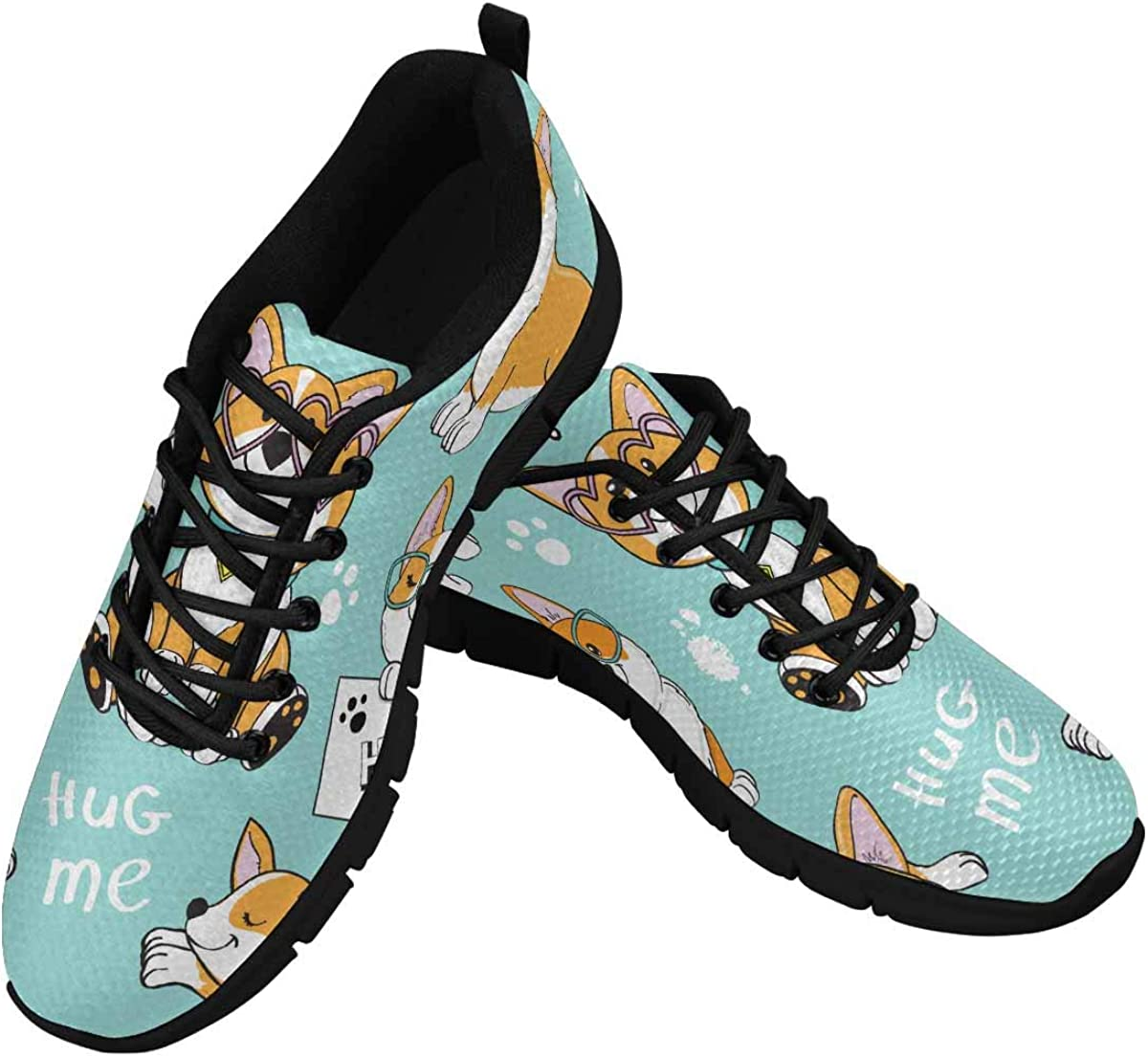 InterestPrint Cute Dog Corgi Collection Women's Athletic Walking Shoes Breathe Comfort Mesh