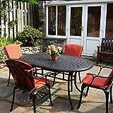 Lazy Susan - June 150 x 95 cm Ovaler Gartentisch mit 4 Stühlen - Gartenmöbel Set aus Metall, Antik Bronze (April Stühle)