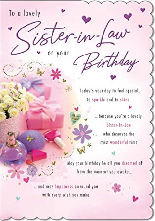 "SISTER IN LAW BIRTHDAY GREETING CARD 7/""X5/"" TRADITIONAL FREE P/&P"