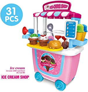 Ice Cream Cart Play Set,Hamkaw Pretend Play Kit with Storage Bucket Safe Funny Pushable Toddler Home Play Truck Toy Party Game Gift for Kids Boys Girls - 3 Years Old