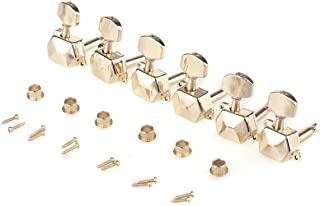 Musiclily Pro 6 in line Semi Closed Guitar Tuners Tuning Machines Set for Fender Stratocaster Telecaster Electric Guitar Right Hand, Small Button Gold