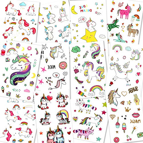 Unicorn Temporary Tattoos for Children Kids Girls(Over 300pcs),Konsait Great Girls Fake Stickers Rainbow Unicorn Birthday Party Favors Birthday Party Gift Bag Fillers
