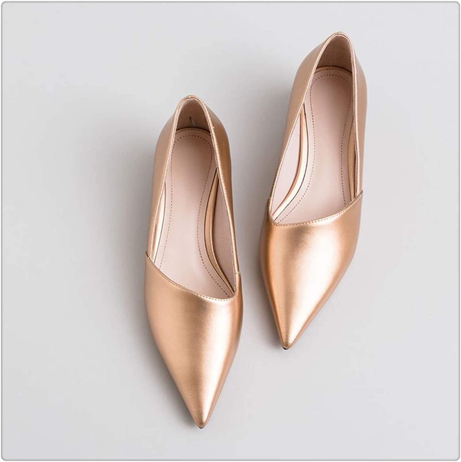 ZXCVB& Fashion Pointed Toe Thick Heel Women shoes Brand high Heels Party Women shoes Spring Office Ladies shoes Size 33-43 gold 9
