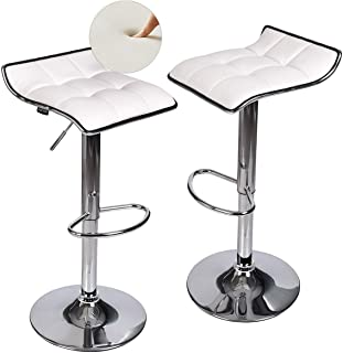 Fullwatt Set of 2 Adjustable Swivel Bar Stool White - Gas Lift Swivel Bar Stools Chairs PU Leather with Chrome Base Counter Height Adjustable Pub Kitchen Counter Stool Chairs for Bar