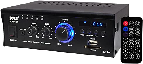 Home Audio Power Amplifier System - 2x75W Dual Channel Theater Power Stereo Receiver Box, Surround Sound w/ USB, RCA, AUX, LED, Remote, 12V Adapter - For Speaker, iPhone - Pyle PCAU35A