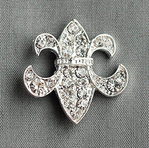 10 pcs Rhinestone buckle Crystal Slider Fleur De Lis Bridal Brooch Bouquet Wedding Invitation Napkin Ring BK058