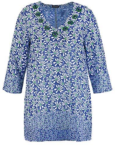 Samoon Damen 1/1 Arm Bluse, Peacock Blue Gemustert, 50