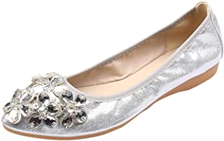 Dainzuy Women's Fashion Leisure Rhinestone Flats Ballet Princess Shiny Shoes