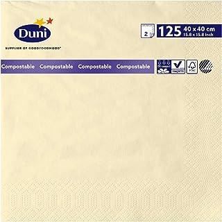 Duni 179001 Tissue Napkins, 40 cm x 40 cm, 2-Ply, Cream (Pack of 1250)