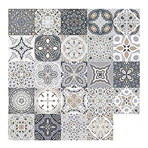 24 Piezas Pegatinas de Azulejos, Calcomanías de Azulejos Mosaico Retro Estilo Marroquí Autoadhesivo Azulejo Transferencias Pegatinas DIY Para Cocina Baño Decoración del Hogar (15 x 15 cm,24PCS)