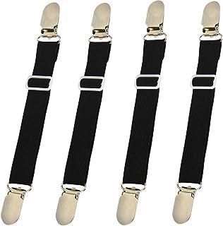 Bed Sheet Clips Straps Sheet Holder Mattress Clips, Adjustable Elastic Bed Sheet Grippers Straps Suspender Fasteners Holder (Black Set of 4)
