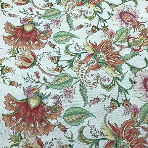 Kt KILOtela Tela de loneta Estampada Digital - Retal de 100 cm Largo x 280 cm Ancho | Flores Indianas - Rosa, Multicolor ─ 1 Metro