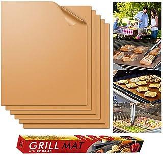 OYHN Tapis de Barbecue Réutilisable 5pcs Tapis de Cuisson Cuivre Plaque Feuille de Cuisson Four 40x33cm pour Barbecue gaz ...