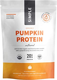 Sprout Living Simple Pumpkin Seed Protein Powder, 20 Grams Cold-Pressed Organic Plant Protein, Vegan, Gluten Free, No Dair...