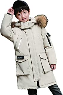 Simple Black White Cool Boy Down Jacket, Long Section 2019 New Big Boy Boy Thickening Foreign Air Winter Children's Down Jacket,White,170
