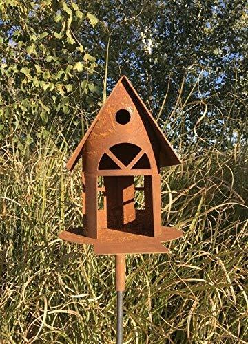villa-lilla Edelrost Vogelhaus/Futterhaus/Metall Laterne in Edelrost als Deko/Gartendeko H 19 cm