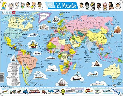 Larsen K1 El Mapa político Mundial, edición en Español, Puzzle de Marco con 107 Piezas