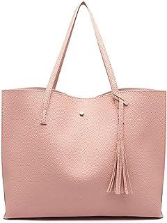 Miss Lulu Damen Vintage Tote Beutel Schultertasche Handtasche Shopper Taschen Henkeltasche (Pink)