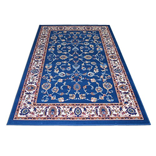 WEBTAPPETI.IT Royal Shiraz 2079-Light Tapis classique économique bleu – facile à nettoyer et très résistant – 140 x 210 cm