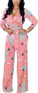Womens Floral Print Long Sleeve V Neck Flare Bell Bottom Long Pants Jumpsuit Rompers Party Clubwear