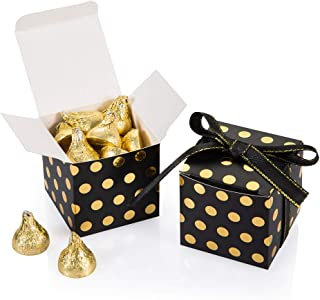 Black Gift Candy Box with Gold Dots Bulk 2x2x2 inches with Ribbon Party Favor Box, Gold Dots,Pack of 50