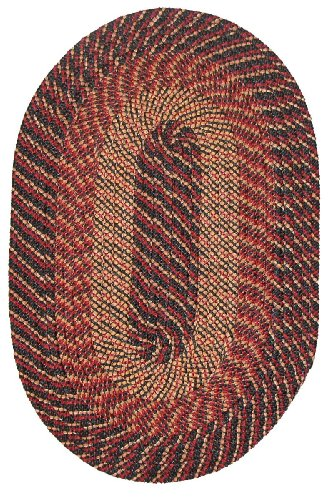 Constitution Rugs Plymouth Braided Rug in Black Red Gold (5' x 8')
