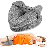 Aokeou Knee Pillow, Memory Foam Leg Positioner Pillow for Side Sleepling, Leg Pillow with Strap for Leg Pain, Back Pain, Sciatica, Pregnancy, Side Sleepers (Gray)