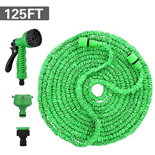 Ovareo Flexibler Gartenschlauch, 125 FT 37.5m Wasserschlauch Gartenschlauch, Flexischlauch Bewässerung Stretch Schlauch mit 8 Funktion Flexible Dehnbar für Gartenbewässerung und Reinigung