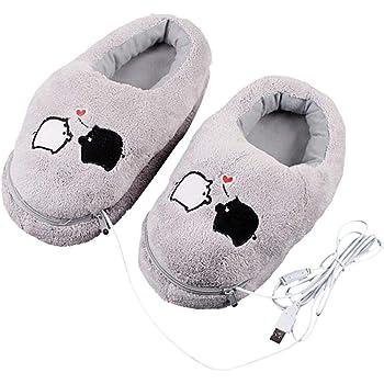 Chaussures Chauffantes pour Pantoufles Pantoufles Chaudes pour Le Chauffage /Électrique USB Pantoufles Chauffantes Chaussures Chauffantes pour Pantoufles Moelleuses Amovibles Lavables Chaussures