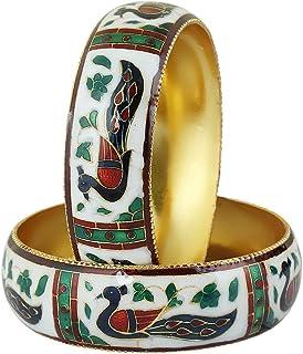 GLINT STORE سوار هندي عتيق ملون للنساء والفتيات أساور مفصلية أساور مطلية بالمينا مجوهرات هدايا