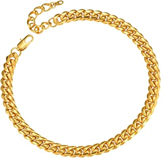 "ChainsPro Men Chunky Miami Curb Chain Necklace 6/9/14mm Width, 18"" 20"" 22"" 24"" 26"" 28"" 30"" Length, Gold/Steel/Black Color ..."