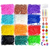 5400+ Colorful Rubber Bands Refill Set Includes: 4800+ Premium Quality Loom Rubber Bands in 12 Unique Colors + 300 S-Clips + 15 Lovely Charms + 6 Crochet Hooks + 2 Y Loom, No Loom Board Include.