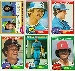 1981 Topps Baseball Complete Near Mint 726 Card Set. Features Rookie Cards of Tim Raines, Fernando Valenzuela, Kirk Gibson and Others Plus Rickey Henderson's 2nd Year Card! Loaded with Stars Including George Brett, Nolan Ryan, Mike Schmidt, Yaz, Robin Yount, Pete Rose, Ozzie Smith and Many Others.