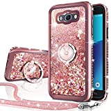 Galaxy J7 Case,J700 Case, Silverback Girls Women Moving Liquid Holographic Sparkle Glitter Case with Ring, Bling Diamond Rhinestone Bumper Slim Protective Case for Samsung J7 2015 J700 -Rose Gold