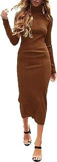 Auxo Vestido a Punto Cuello Alto Suéter Larga Elegante Clásico para Mujer Jerséy para Otoño Invierno Fiesta Cóctel Noche C...