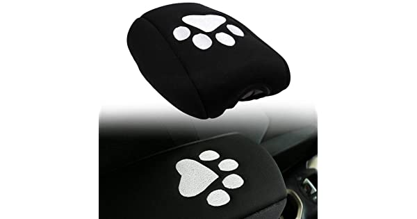 Sunluway Neoprene Center Console Armrest Pad Cover Black Dog Paw Print Protector Cushion for 2011-2018 Jeep Grand Cherokee
