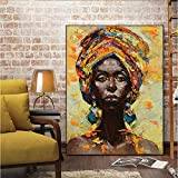 Geiqianjiumai Mutu on Canvas Wall Art Print Black Woman Frameless Painting on Living Room Pintura Lienzo 60x90cm